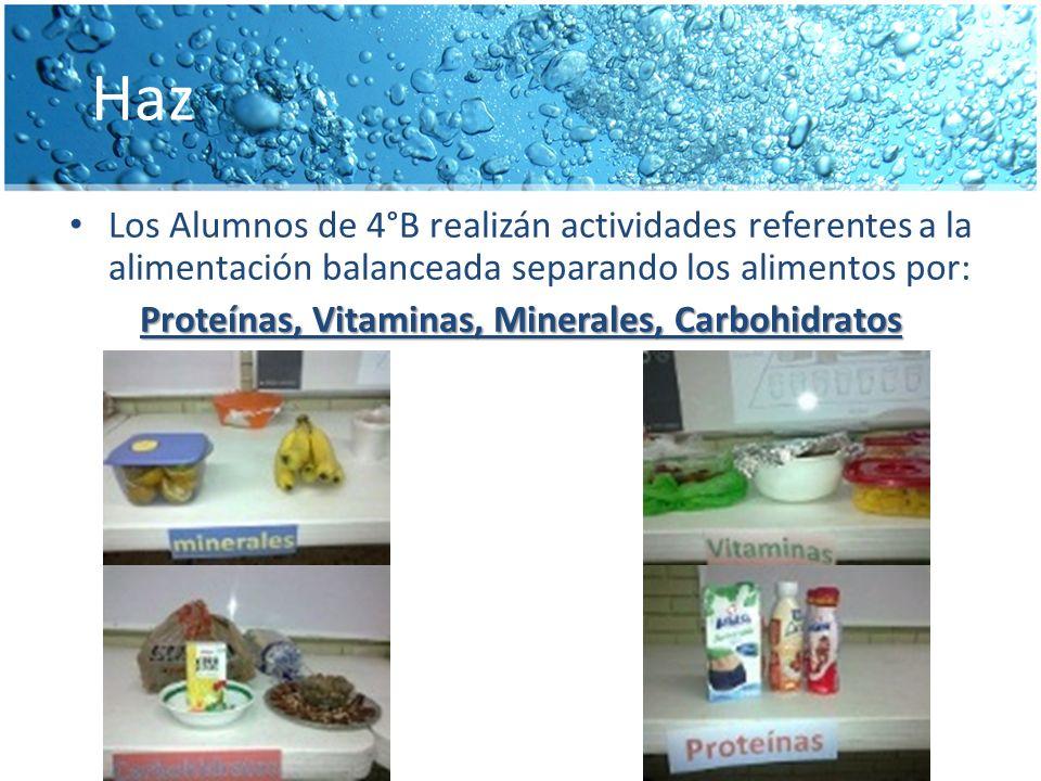 Haz Los Alumnos de 4°B realizán actividades referentes a la alimentación balanceada separando los alimentos por: Proteínas, Vitaminas, Minerales, Carbohidratos