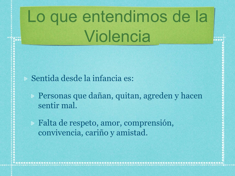 Lo que entendimos de la Violencia Sentida desde la infancia es: Personas que dañan, quitan, agreden y hacen sentir mal. Falta de respeto, amor, compre