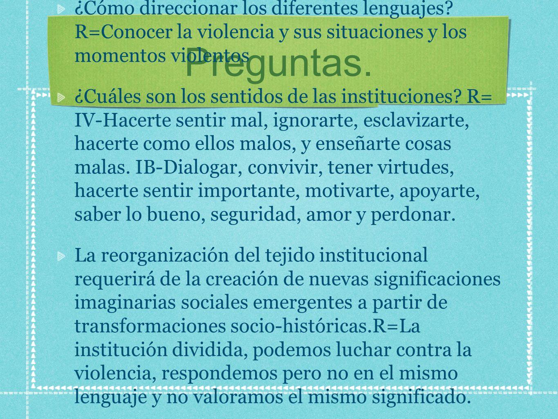 Preguntas. ¿Cómo direccionar los diferentes lenguajes? R=Conocer la violencia y sus situaciones y los momentos violentos ¿Cuáles son los sentidos de l