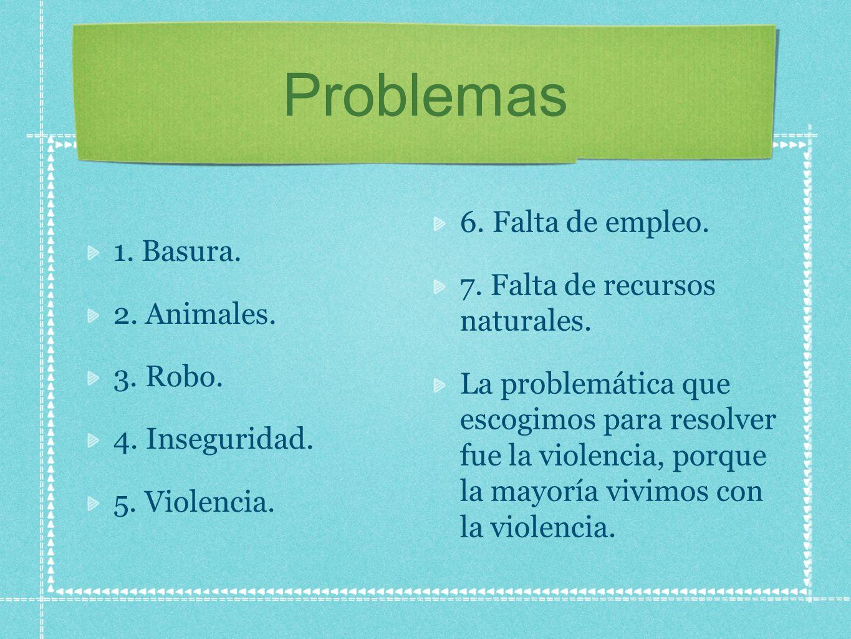 Problemas 1. Basura. 2. Animales. 3. Robo. 4. Inseguridad. 5. Violencia. 6. Falta de empleo. 7. Falta de recursos naturales. La problemática que escog