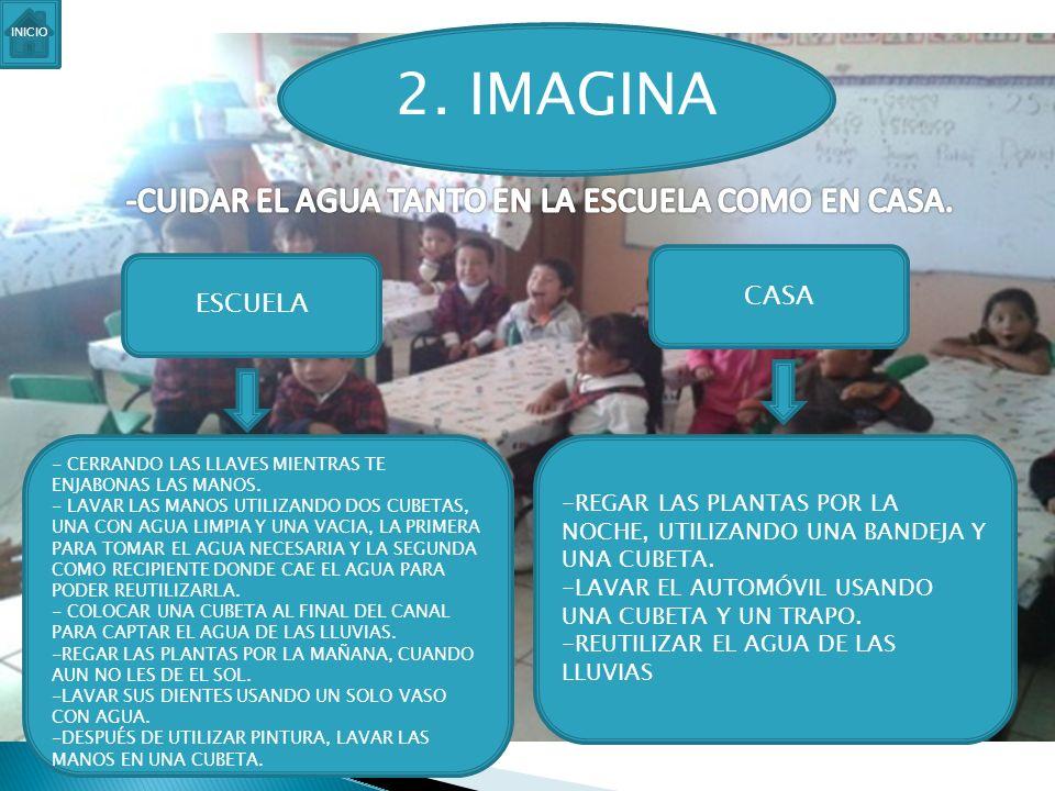 2. IMAGINA ESCUELA CASA - CERRANDO LAS LLAVES MIENTRAS TE ENJABONAS LAS MANOS. - LAVAR LAS MANOS UTILIZANDO DOS CUBETAS, UNA CON AGUA LIMPIA Y UNA VAC