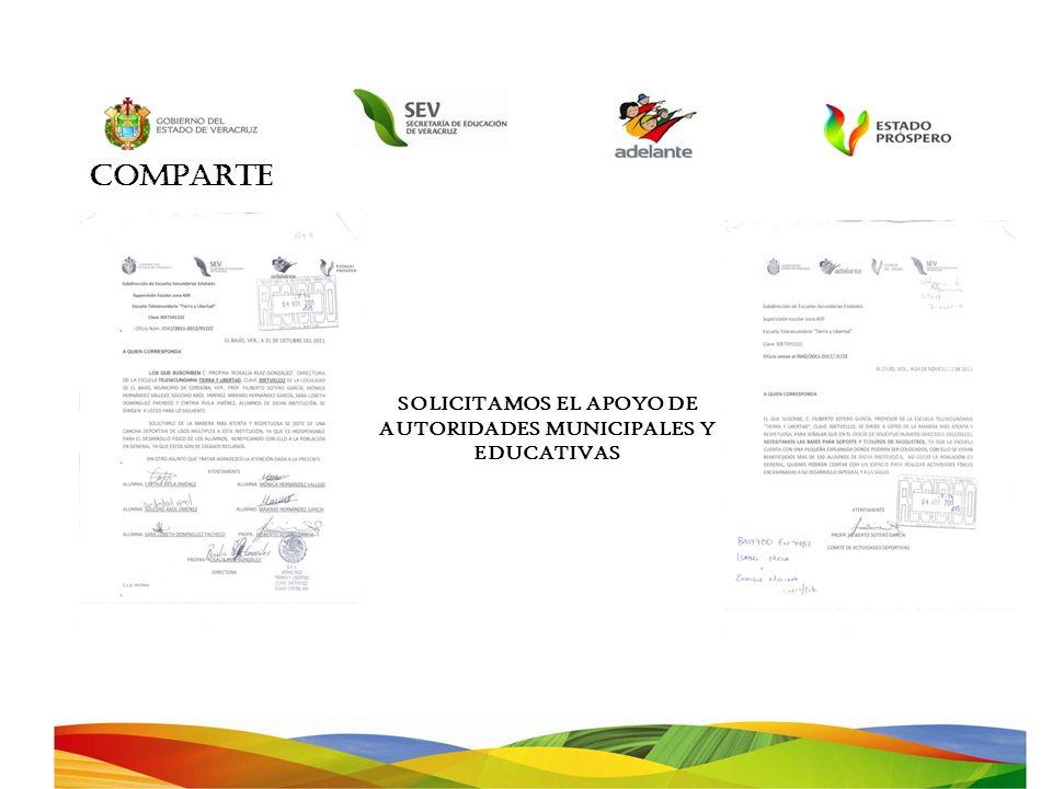 COMPARTE SOLICITAMOS EL APOYO DE AUTORIDADES MUNICIPALES Y EDUCATIVAS