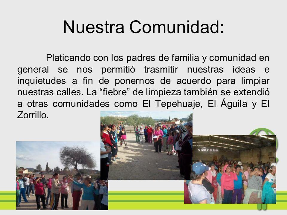 TRANSFORMANDO EL ROSTRO DE NUESTRA COMUNIDAD. Después de ordenar y limpiar nuestra escuela, el siguiente paso era limpiar las calles de nuestra comuni