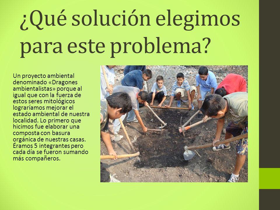 ¿Qué solución elegimos para este problema? Un proyecto ambiental denominado «Dragones ambientalistas» porque al igual que con la fuerza de estos seres