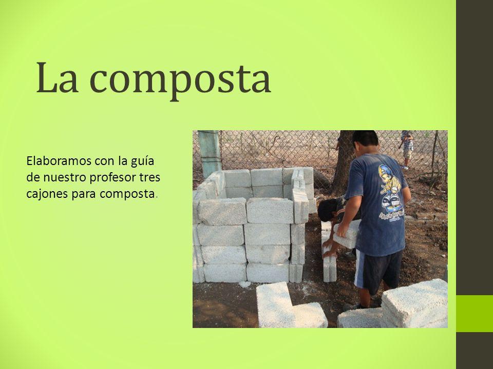 La composta Elaboramos con la guía de nuestro profesor tres cajones para composta.
