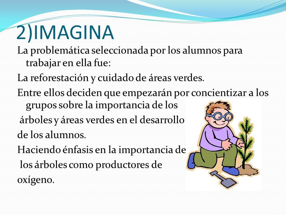2)IMAGINA La problemática seleccionada por los alumnos para trabajar en ella fue: La reforestación y cuidado de áreas verdes. Entre ellos deciden que