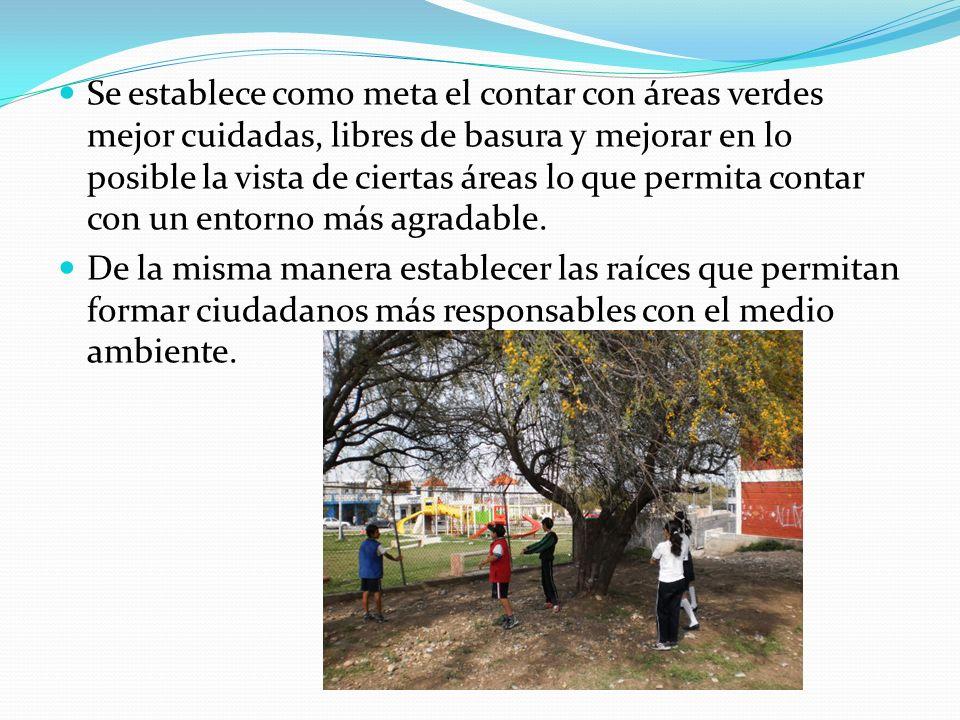 Se establece como meta el contar con áreas verdes mejor cuidadas, libres de basura y mejorar en lo posible la vista de ciertas áreas lo que permita co
