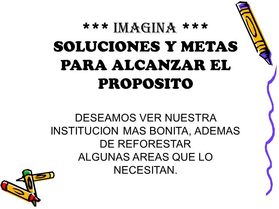 *** IMAGINA *** SOLUCIONES Y METAS PARA ALCANZAR EL PROPOSITO DESEAMOS VER NUESTRA INSTITUCION MAS BONITA, ADEMAS DE REFORESTAR ALGUNAS AREAS QUE LO N
