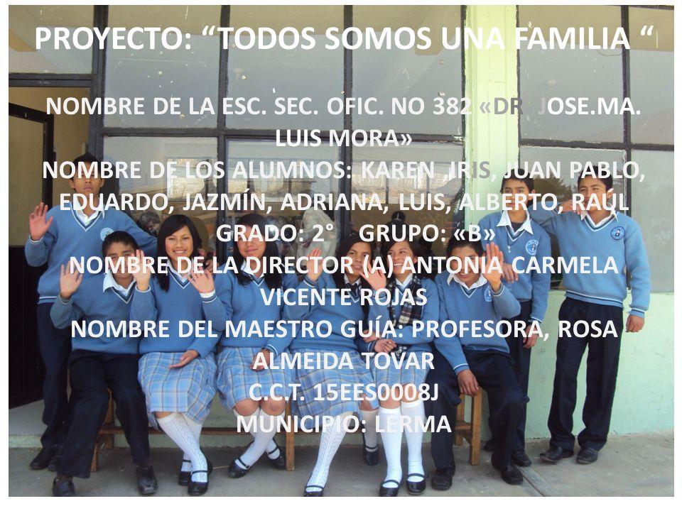 PROYECTO: TODOS SOMOS UNA FAMILIA NOMBRE DE LA ESC. SEC. OFIC. NO 382 «DR. JOSE.MA. LUIS MORA» NOMBRE DE LOS ALUMNOS: KAREN,IRIS, JUAN PABLO, EDUARDO,
