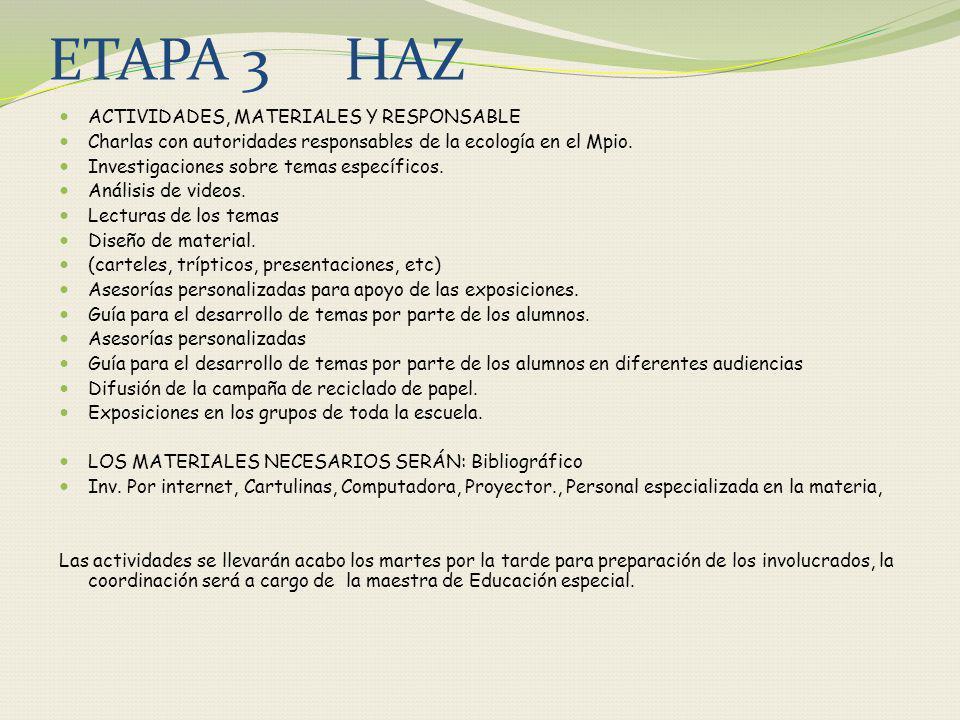 ETAPA 3 HAZ ACTIVIDADES, MATERIALES Y RESPONSABLE Charlas con autoridades responsables de la ecología en el Mpio. Investigaciones sobre temas específi