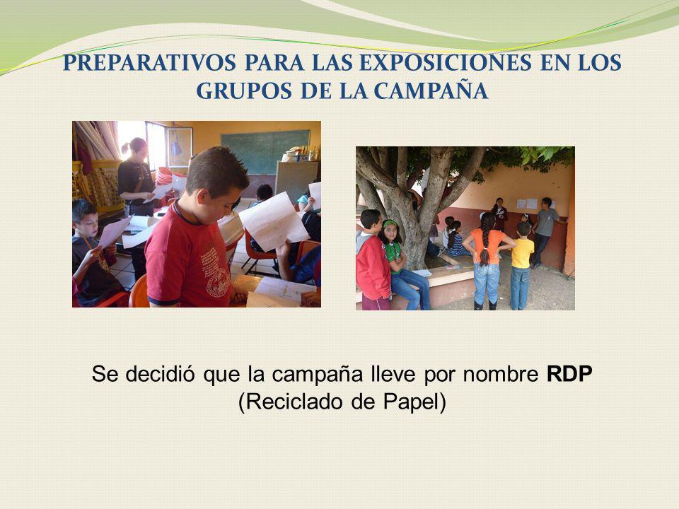 PREPARATIVOS PARA LAS EXPOSICIONES EN LOS GRUPOS DE LA CAMPAÑA Se decidió que la campaña lleve por nombre RDP (Reciclado de Papel)