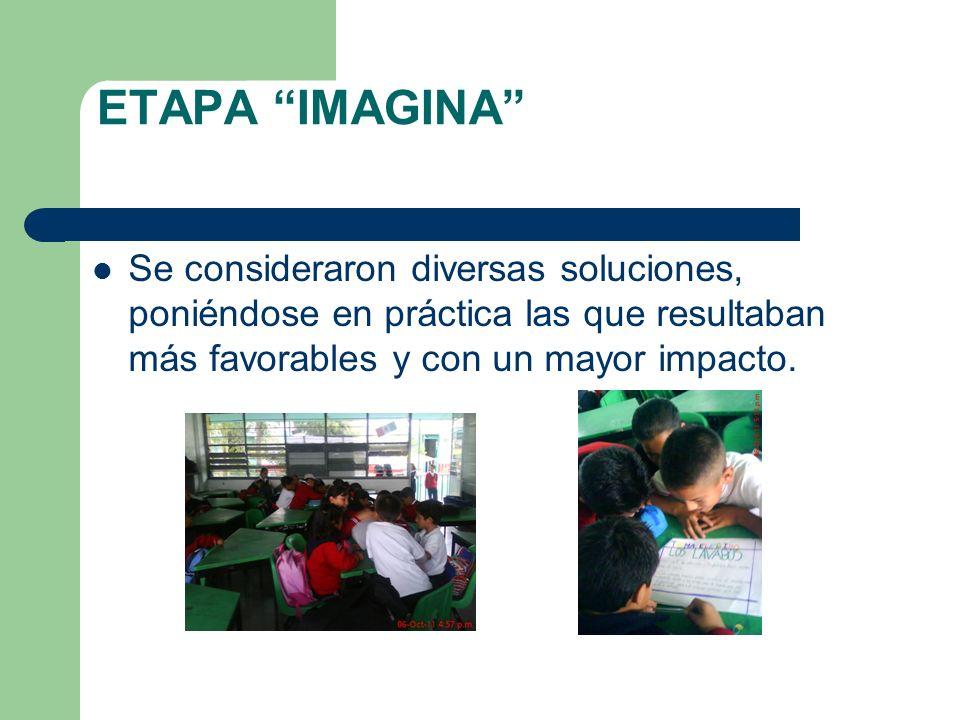 ETAPA IMAGINA Se consideraron diversas soluciones, poniéndose en práctica las que resultaban más favorables y con un mayor impacto.