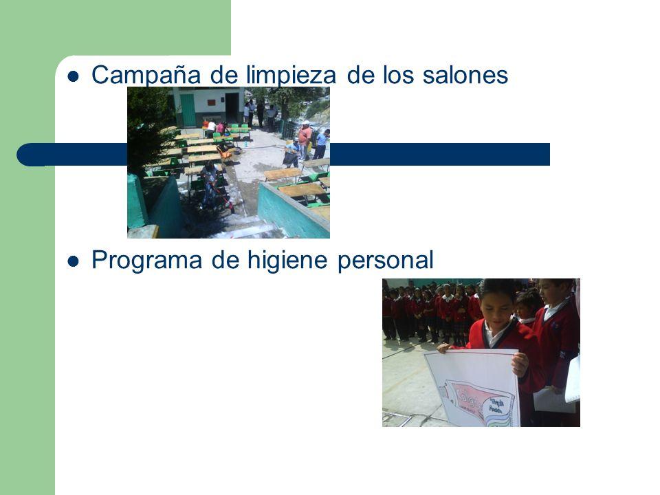 Campaña de limpieza de los salones Programa de higiene personal