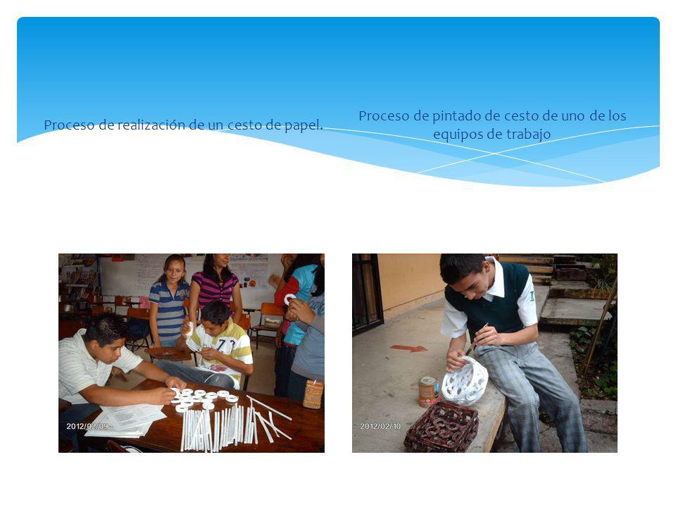 Proceso de realización de un cesto de papel. Proceso de pintado de cesto de uno de los equipos de trabajo