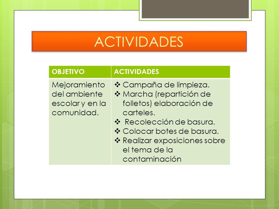 ACTIVIDADES OBJETIVOACTIVIDADES Mejoramiento del ambiente escolar y en la comunidad. Campaña de limpieza. Marcha (repartición de folletos) elaboración