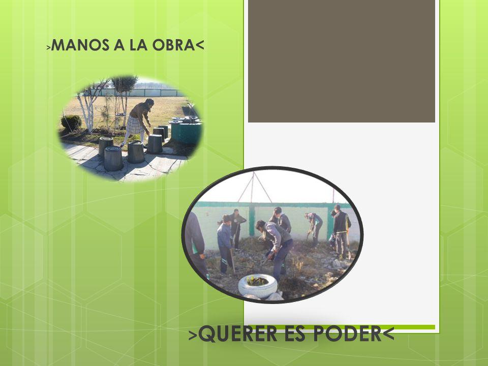 > MANOS A LA OBRA< > QUERER ES PODER<