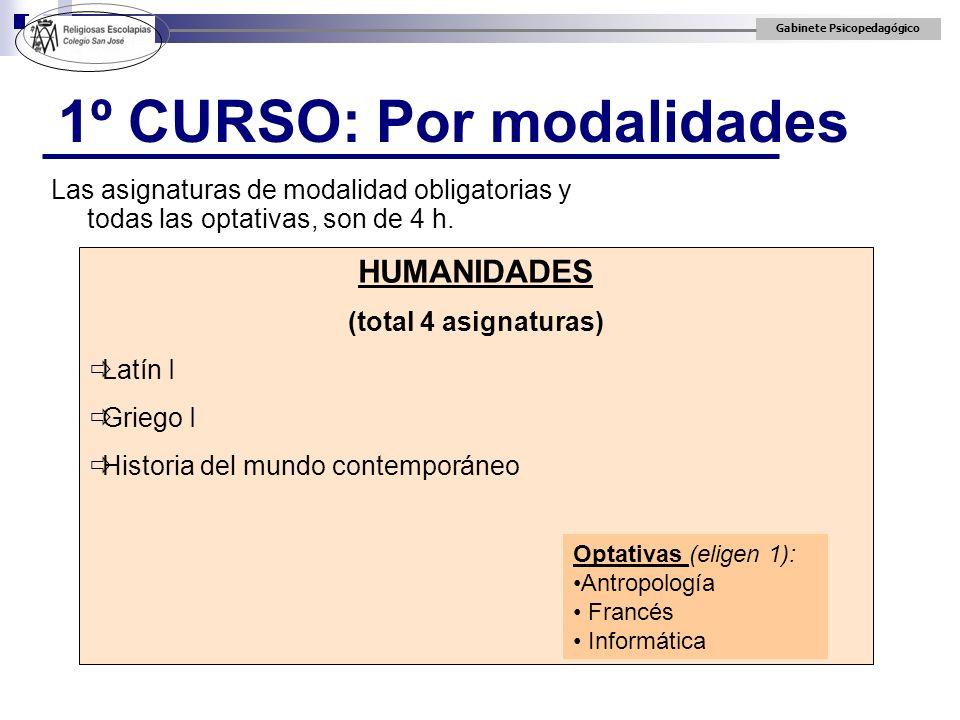 Gabinete Psicopedagógico 1º CURSO: Por modalidades Las asignaturas de modalidad obligatorias y todas las optativas, son de 4 h. HUMANIDADES (total 4 a