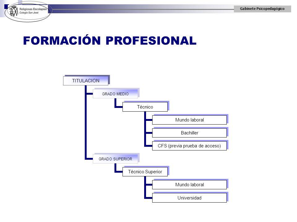 Gabinete Psicopedagógico TITULACION GRADO MEDIO Técnico Mundo laboral Bachiller CFS (previa prueba de acceso) GRADO SUPERIOR Técnico Superior Mundo la