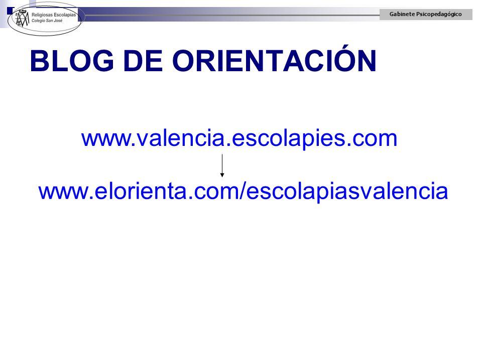 Gabinete Psicopedagógico BLOG DE ORIENTACIÓN www.elorienta.com/escolapiasvalencia www.valencia.escolapies.com