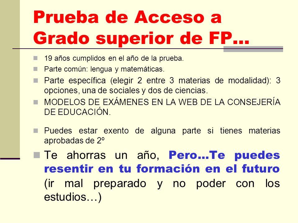 Prueba de Acceso a Grado superior de FP… 19 años cumplidos en el año de la prueba.