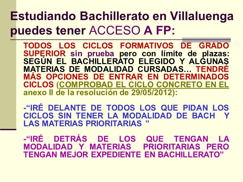 Estudiando Bachillerato en Villaluenga puedes tener ACCESO A FP: TODOS LOS CICLOS FORMATIVOS DE GRADO SUPERIOR sin prueba pero con límite de plazas: SEGÚN EL BACHILLERATO ELEGIDO Y ALGUNAS MATERIAS DE MODALIDAD CURSADAS… TENDRÉ MÁS OPCIONES DE ENTRAR EN DETERMINADOS CICLOS (COMPROBAD EL CICLO CONCRETO EN EL anexo II de la resolución de 29/05/2012): -IRÉ DELANTE DE TODOS LOS QUE PIDAN LOS CICLOS SIN TENER LA MODALIDAD DE BACH Y LAS MATERIAS PRIORITARIAS -IRÉ DETRÁS DE LOS QUE TENGAN LA MODALIDAD Y MATERIAS PRIORITARIAS PERO TENGAN MEJOR EXPEDIENTE EN BACHILLERATO