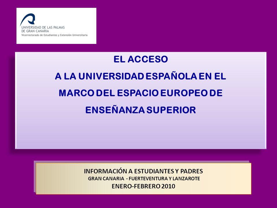 INFORMACIÓN A ESTUDIANTES Y PADRES GRAN CANARIA - FUERTEVENTURA Y LANZAROTE ENERO-FEBRERO 2010 EL ACCESO A LA UNIVERSIDAD ESPAÑOLA EN EL MARCO DEL ESP