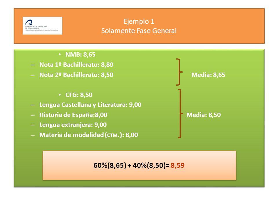 Ejemplo 1 Solamente Fase General NMB: 8,65 – Nota 1º Bachillerato: 8,80 – Nota 2º Bachillerato: 8,50 Media: 8,65 CFG: 8,50 – Lengua Castellana y Liter