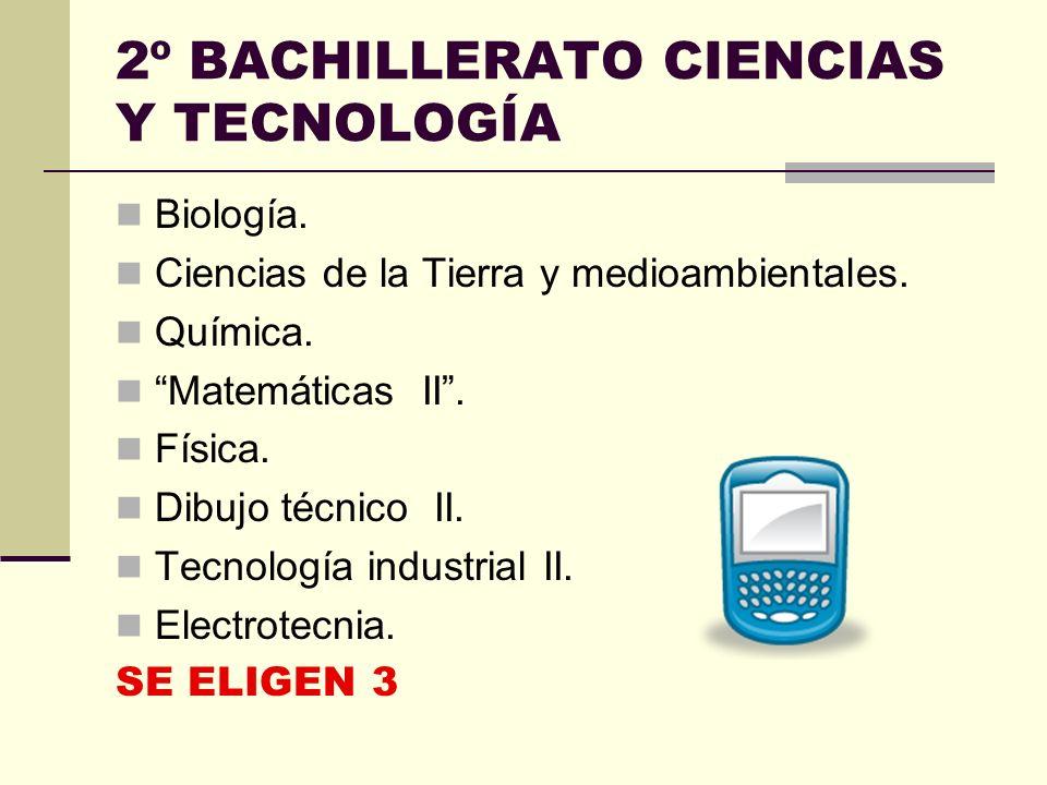 Materias de modalidad. Las materias de modalidad del bachillerato de Ciencias y Tecnología son las siguientes: