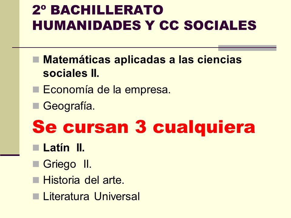 Las materias de la modalidad de Humanidades y Ciencias Sociales son las siguientes: