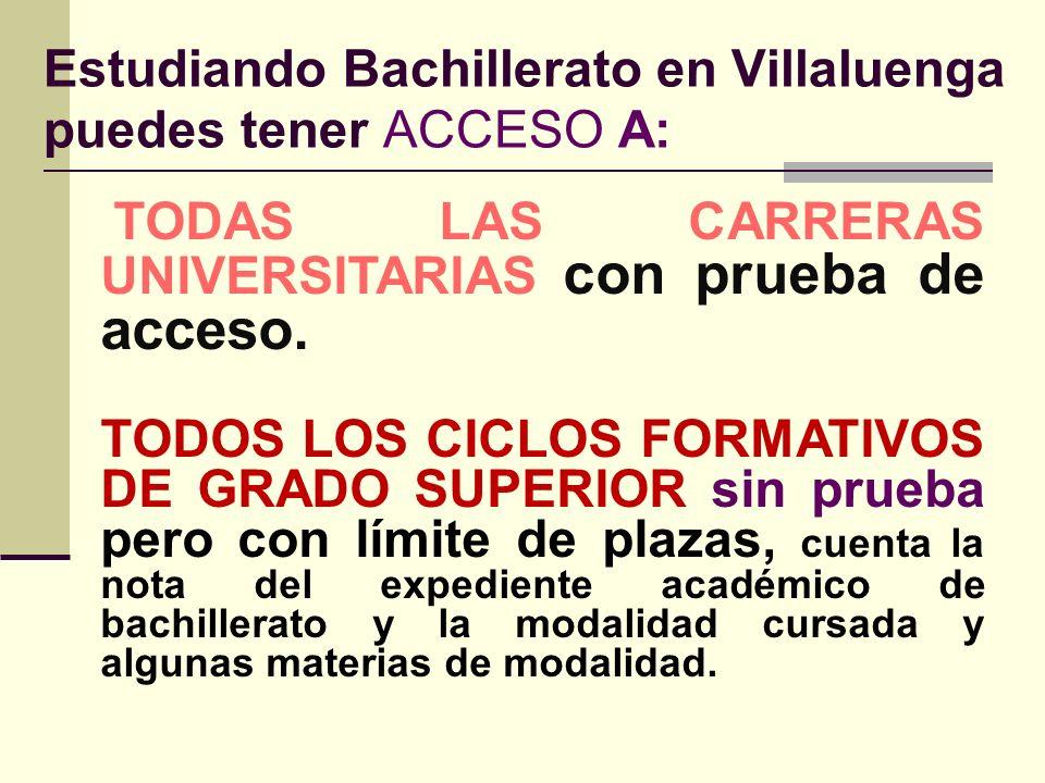 BACHILLERATO LOE : TITULACIÓN: Bachillerato. Para titular es necesario superar todas las materias de los dos años. ACCESO A: La Universidad. Con Prueb