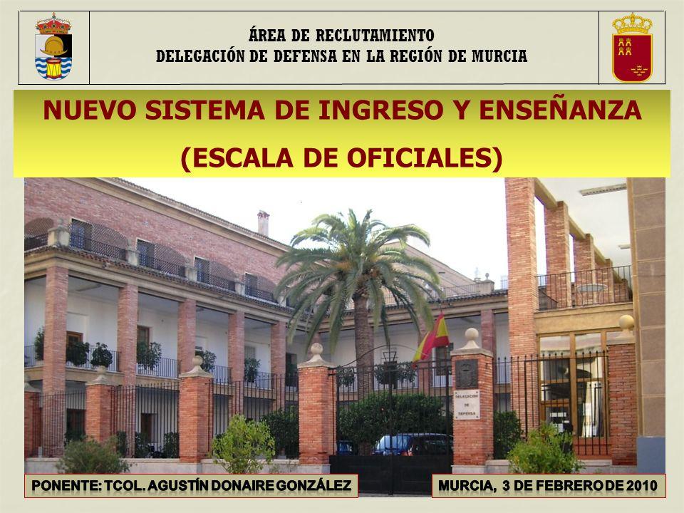 NUEVO SISTEMA DE INGRESO Y ENSEÑANZA (ESCALA DE OFICIALES) ÁREA DE RECLUTAMIENTO DELEGACIÓN DE DEFENSA EN LA REGIÓN DE MURCIA