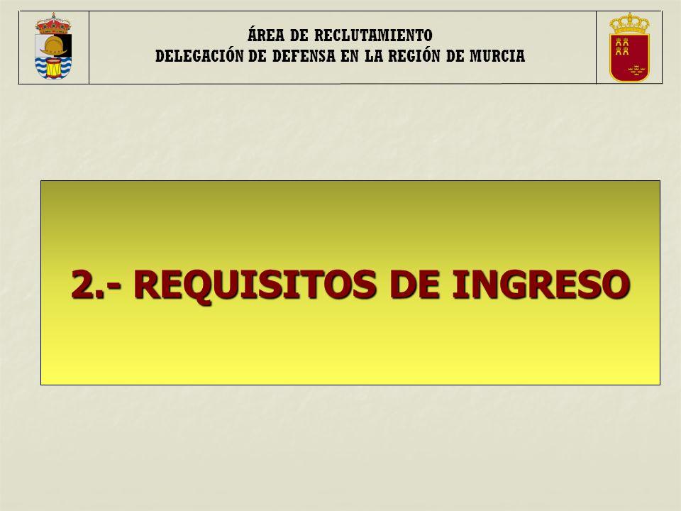 ÁREA DE RECLUTAMIENTO DELEGACIÓN DE DEFENSA EN LA REGIÓN DE MURCIA 2.- REQUISITOS DE INGRESO