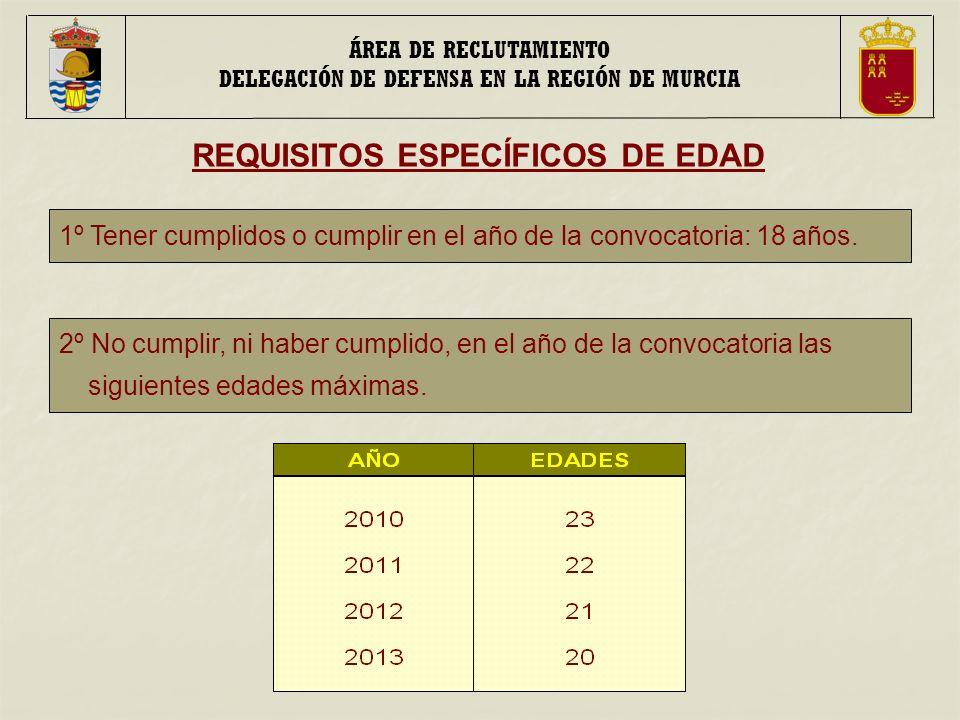 ÁREA DE RECLUTAMIENTO DELEGACIÓN DE DEFENSA EN LA REGIÓN DE MURCIA REQUISITOS ESPECÍFICOS DE EDAD 1º Tener cumplidos o cumplir en el año de la convocatoria: 18 años.