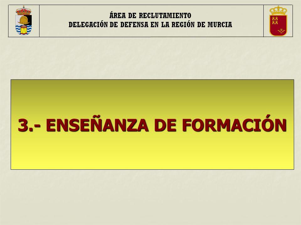 ÁREA DE RECLUTAMIENTO DELEGACIÓN DE DEFENSA EN LA REGIÓN DE MURCIA 3.- ENSEÑANZA DE FORMACIÓN