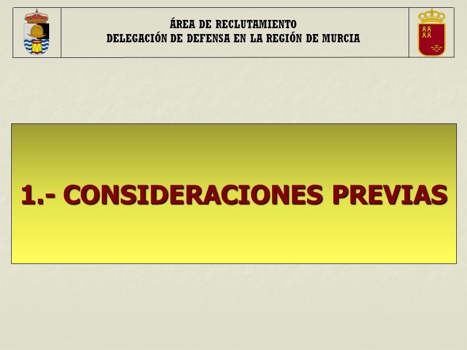ÁREA DE RECLUTAMIENTO DELEGACIÓN DE DEFENSA EN LA REGIÓN DE MURCIA 1.- CONSIDERACIONES PREVIAS