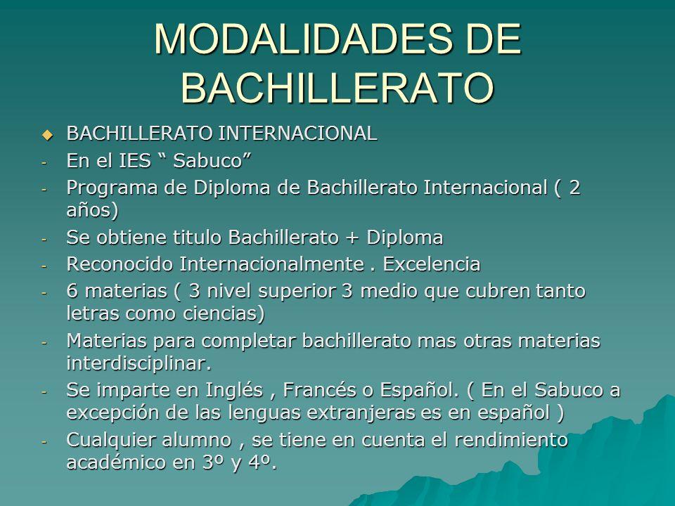 MODALIDADES DE BACHILLERATO BACHILLERATO INTERNACIONAL BACHILLERATO INTERNACIONAL - En el IES Sabuco - Programa de Diploma de Bachillerato Internacion