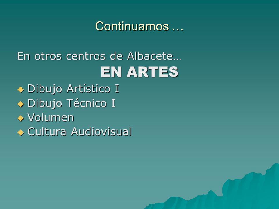 Continuamos … En otros centros de Albacete… EN ARTES Dibujo Artístico I Dibujo Artístico I Dibujo Técnico I Dibujo Técnico I Volumen Volumen Cultura A