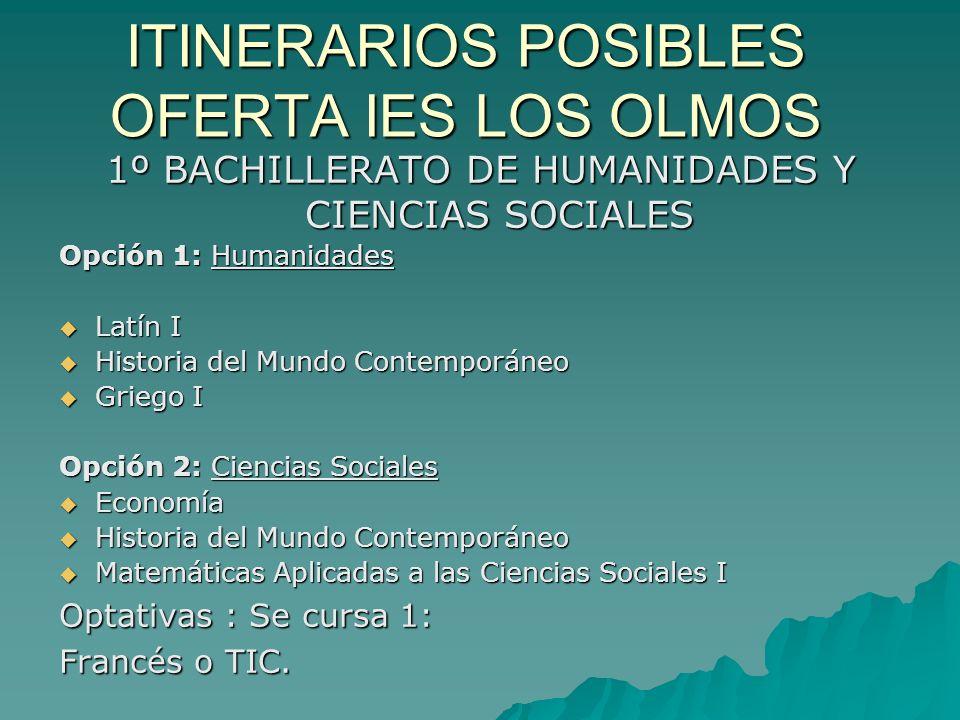 ITINERARIOS POSIBLES OFERTA IES LOS OLMOS 1º BACHILLERATO DE HUMANIDADES Y CIENCIAS SOCIALES Opción 1: Humanidades Latín I Latín I Historia del Mundo