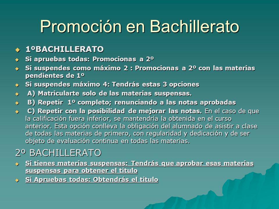 Promoción en Bachillerato 1ºBACHILLERATO 1ºBACHILLERATO Si apruebas todas: Promocionas a 2º Si apruebas todas: Promocionas a 2º Si suspendes como máxi
