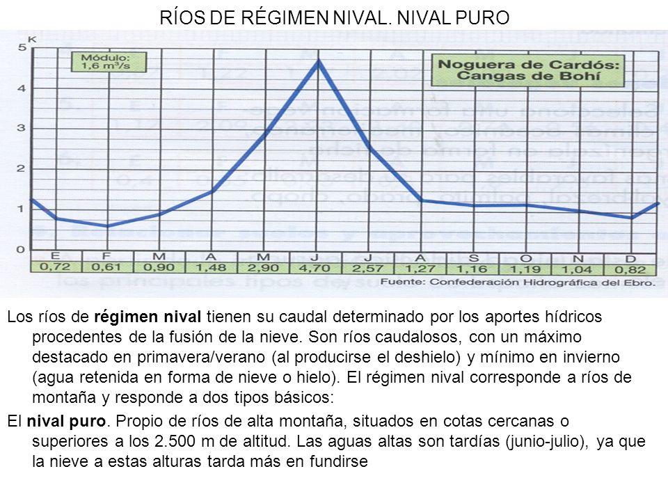 RÍOS DE RÉGIMEN NIVAL. NIVAL PURO Los ríos de régimen nival tienen su caudal determinado por los aportes hídricos procedentes de la fusión de la nieve