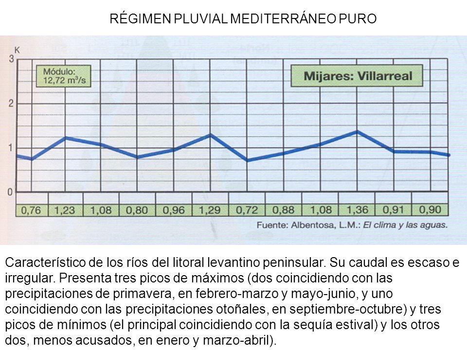 RÉGIMEN PLUVIAL MEDITERRÁNEO PURO Característico de los ríos del litoral levantino peninsular. Su caudal es escaso e irregular. Presenta tres picos de