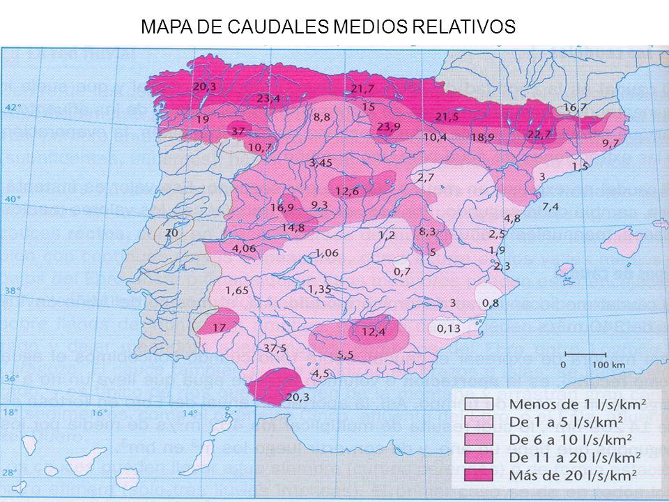 MAPA DE CAUDALES MEDIOS RELATIVOS
