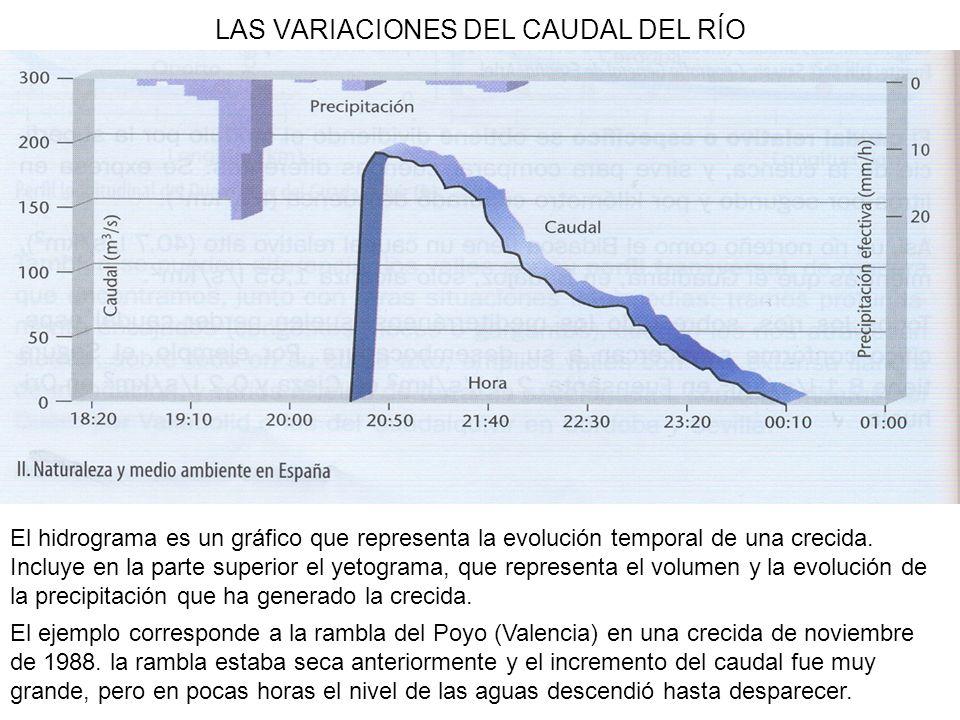 LAS VARIACIONES DEL CAUDAL DEL RÍO El hidrograma es un gráfico que representa la evolución temporal de una crecida. Incluye en la parte superior el ye