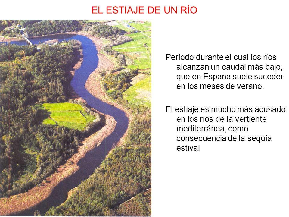 EL ESTIAJE DE UN RÍO Período durante el cual los ríos alcanzan un caudal más bajo, que en España suele suceder en los meses de verano. El estiaje es m