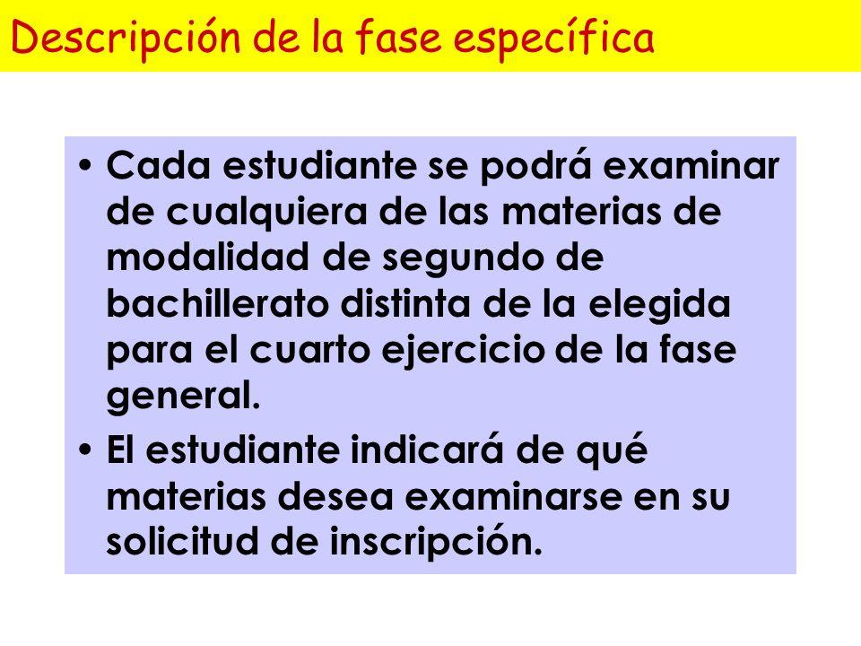 Calificación de la fase general Cada ejercicio se calificará de 0 a 10 puntos, con dos cifras decimales. La calificación de esta fase será la media ar