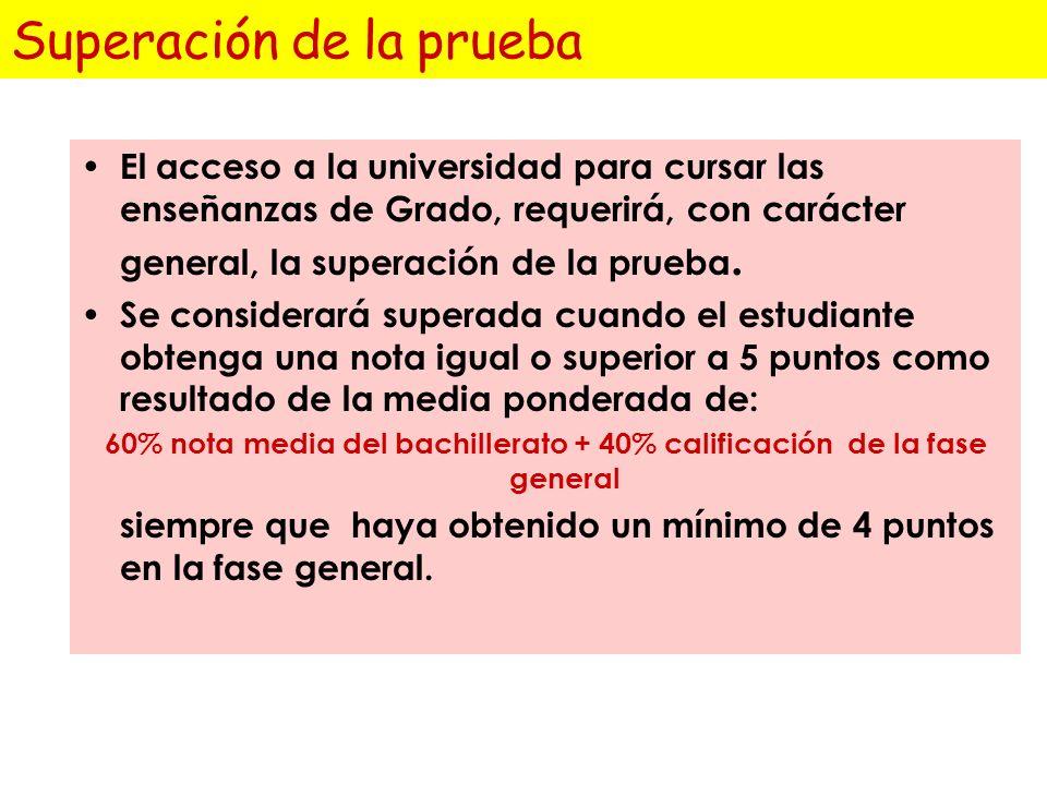 Calificación de las materias de la fase específica Cada una de las materias de las que se examine el estudiante, se calificará de 0 a 10, con dos deci