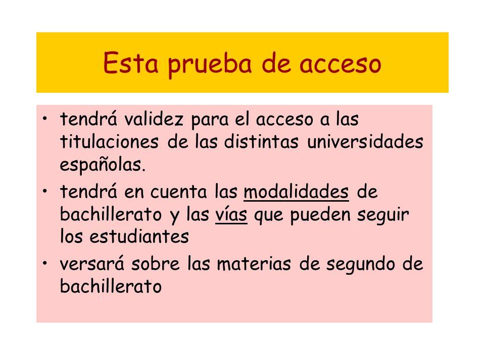 Esta prueba de acceso tendrá validez para el acceso a las titulaciones de las distintas universidades españolas.