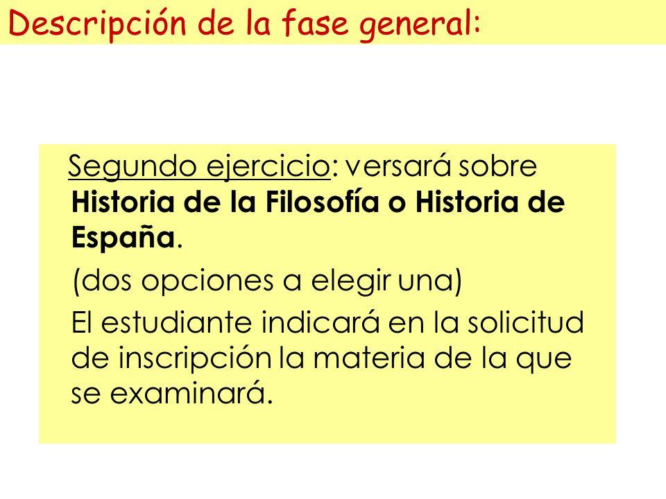 Descripción de la fase general: Segundo ejercicio: versará sobre Historia de la Filosofía o Historia de España.