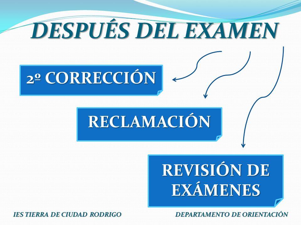 DESPUÉS DEL EXAMEN RECLAMACIÓN REVISIÓN DE EXÁMENES 2º CORRECCIÓN IES TIERRA DE CIUDAD RODRIGO DEPARTAMENTO DE ORIENTACIÓN