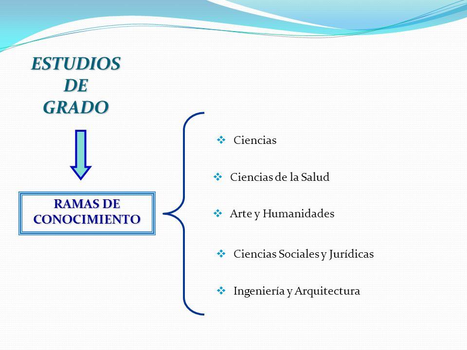 ESTUDIOS DE GRADO Ciencias Ciencias de la Salud Arte y Humanidades Ciencias Sociales y Jurídicas Ingeniería y Arquitectura RAMAS DE CONOCIMIENTO